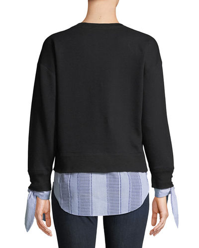 Long-Sleeve Combo Sweatshirt w/ Tie Detail