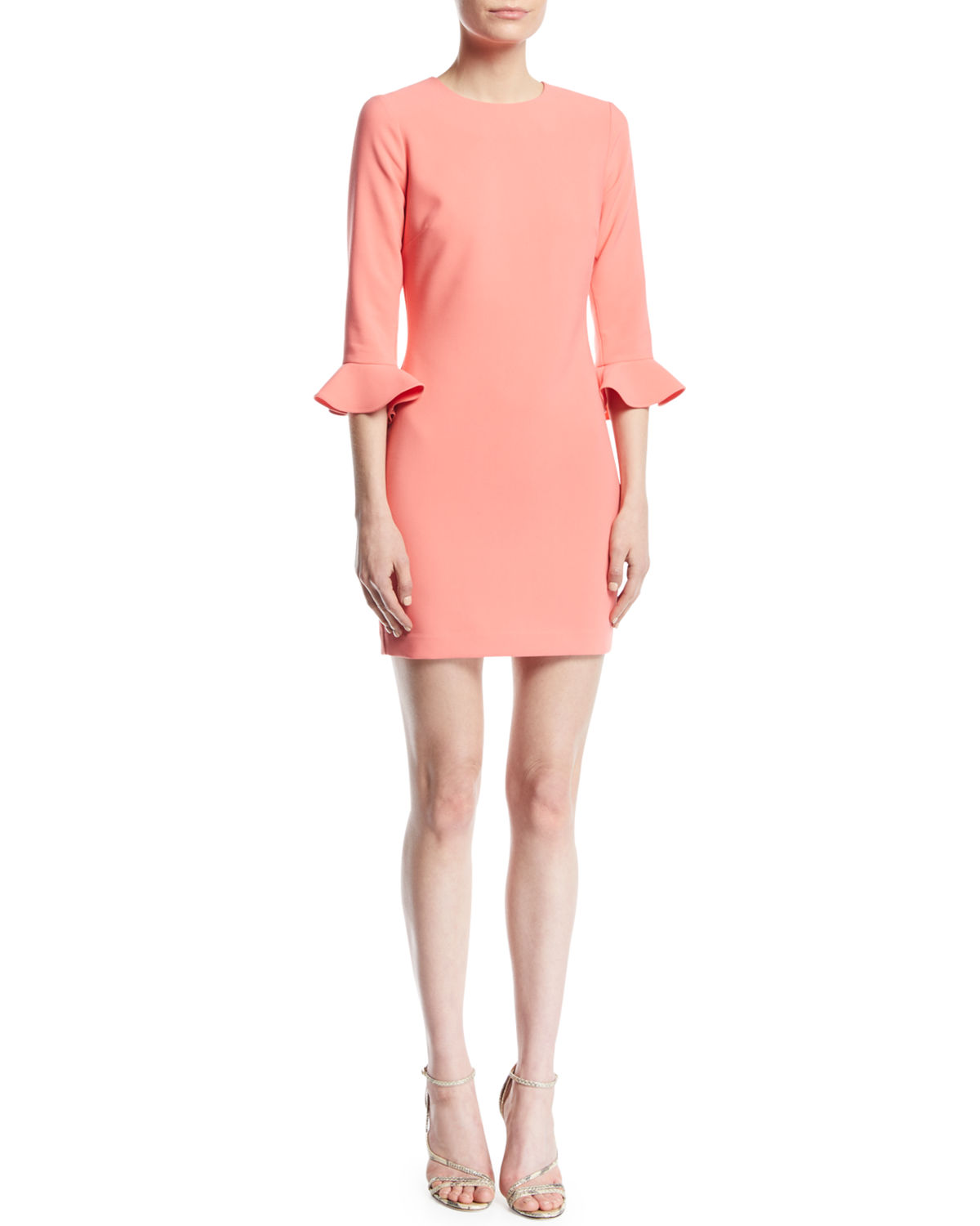 Likely Bedford 3/4-Sleeve Crepe Cocktail Dress, CORAL