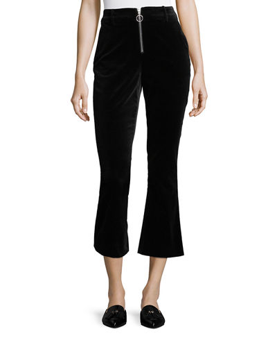 High-Waist Velvet O-Ring Zip Flare Pants