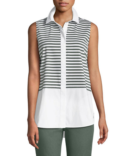 Malta Striped Jersey Button-Front Blouse