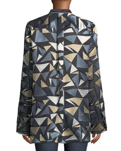 Desra Colliding Angles Burnout Velvet Blouse