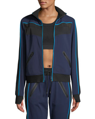 ZIP-FRONT MESH-PANEL RUNNING JACKET
