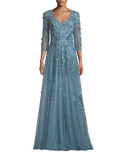 09373125127 Promotion Floral Tulle Applique V-Neck Gown