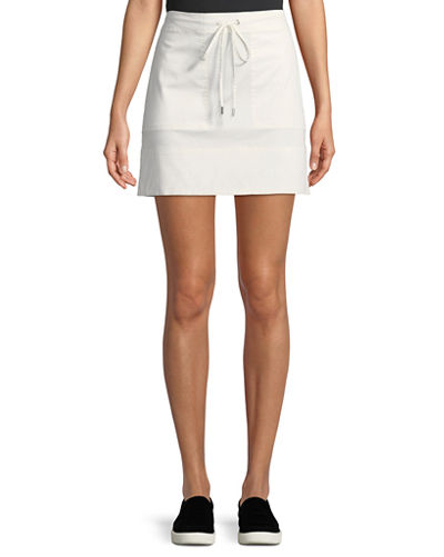 Drawstring Stitched-Pocket Twill Mini Skirt