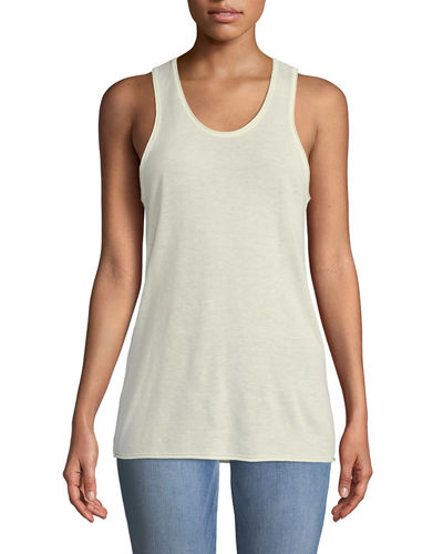 Scoop-Neck Sleeveless Cashmere Tank Top