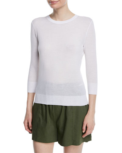 Textured 3/4-Sleeve Pullover Top