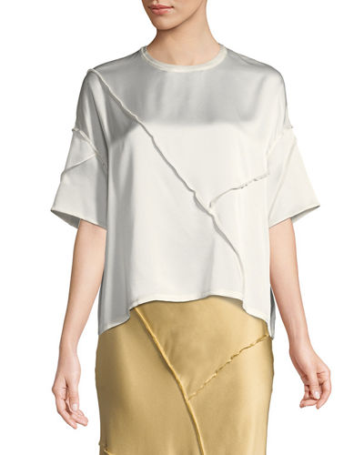 Raw-Edge Silk Short-Sleeve Tee