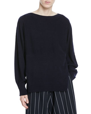 LAYERED BACK WOOL CASHMERE BOATNECK SWEATER
