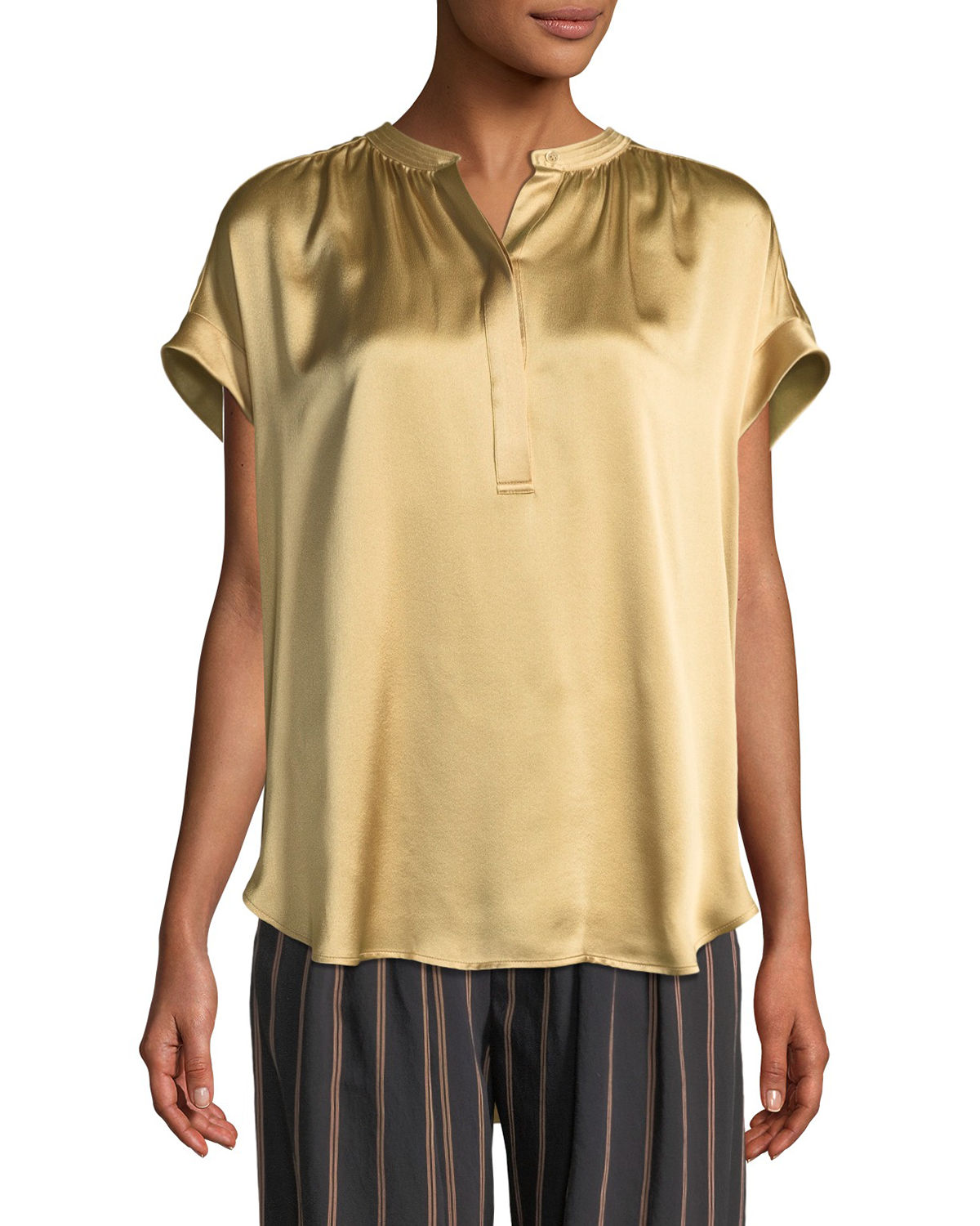Vince Silk Shirred Neck Cap Sleeve Blouse | Top and Clothing