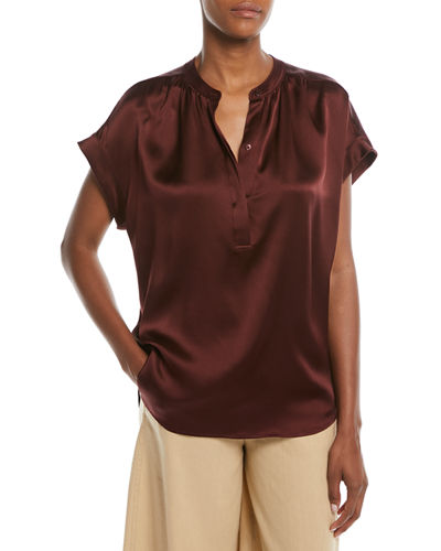 Silk Shirred-Neck Cap-Sleeve Blouse