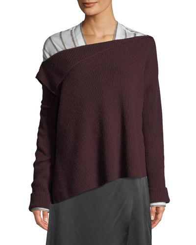 Off-Shoulder Asymmetric Cashmere Pullover Sweater