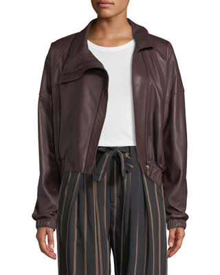 Asymmetric Leather Moto Jacket, Black Cherry