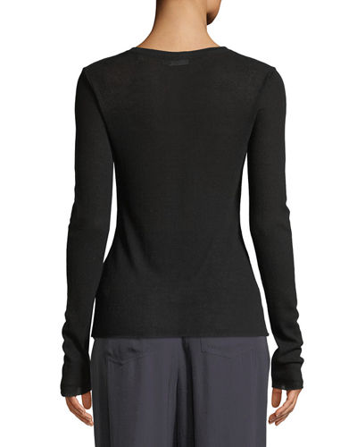 Crewneck Long-Sleeve Rib-Knit Top