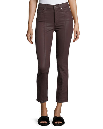 Edie Skinny-Leg Coated Pants