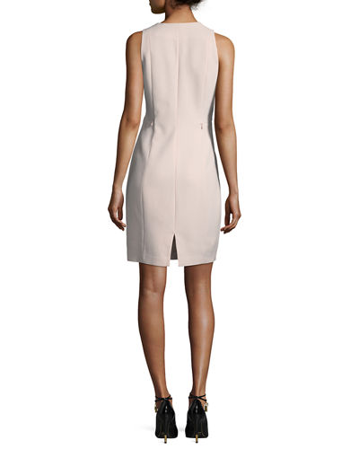 Linzra Zip-Front V-Neck Sheath Dress