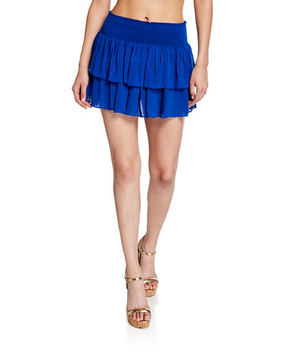Sibyl Smocked Two-Tier Mini Skirt