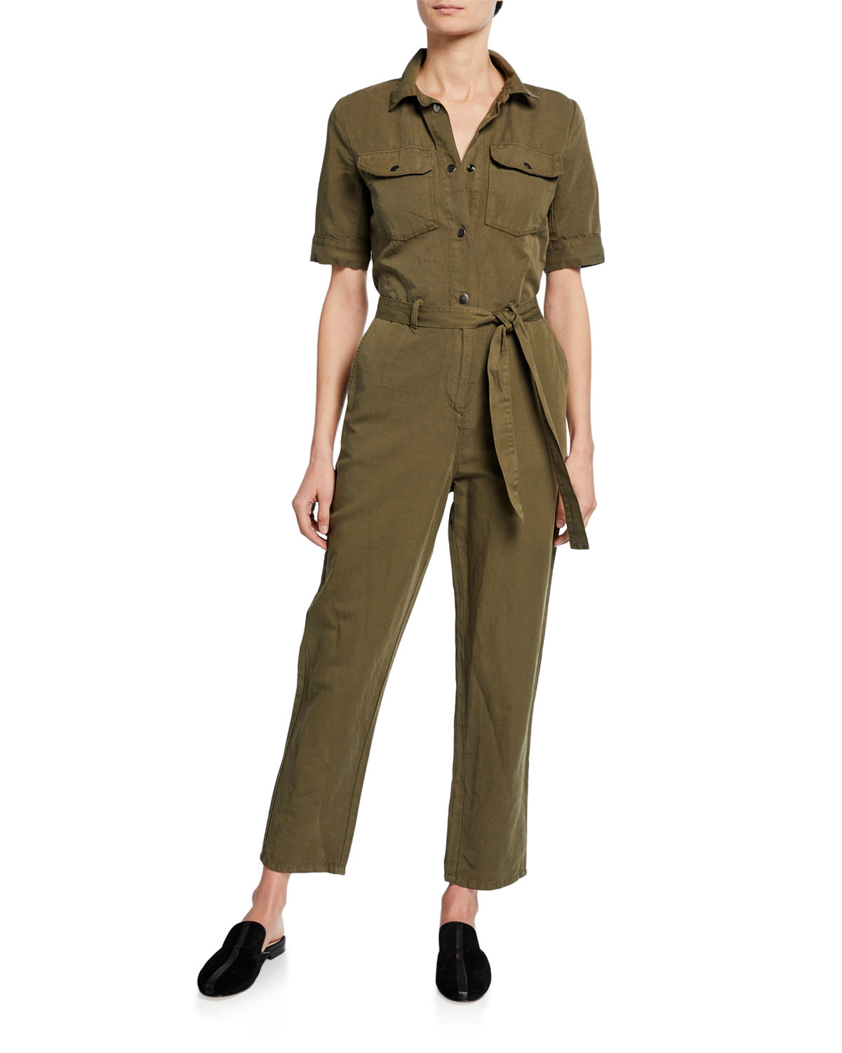 Frame Suits SHORT-SLEEVE BUTTON-DOWN BELTED STRAIGHT-LEG COTTON-LINEN JUMPSUIT