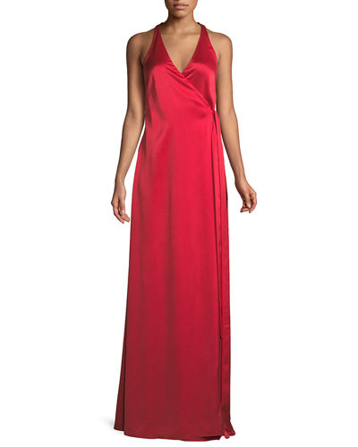 Sleeveless Floor-Length Wrap Dress
