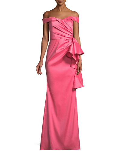 Off-the-Shoulder Gown w/ Side Ruffles