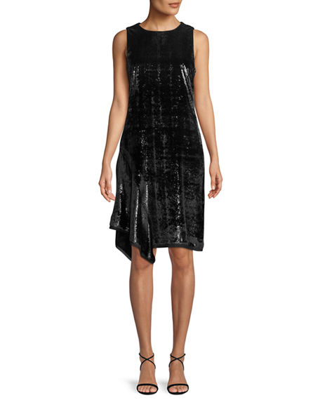 Elie Tahari SERENITY METALLIC SLEEVELESS DRESS