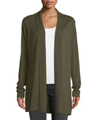 Adele Shawl-Collar Merino & Silk Cardigan Sweater in Olivine
