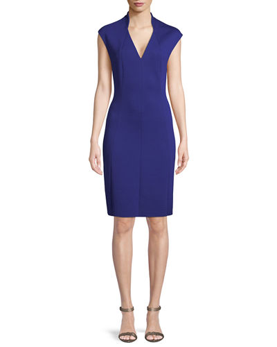 Geraldine Cap-Sleeve Sheath Ponte Cocktail Dress