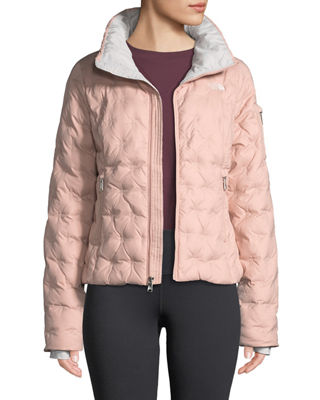 THE NORTH FACE Holladown Pintuck-Quilted Crop Jacket in Misty Rose