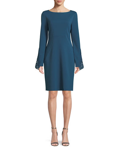 Azura Boat-Neck Long-Sleeve Ponte Sheath Dress w/ Lace Cuffs