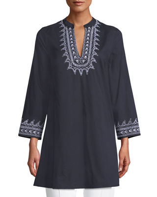 LE SIRENUSE CHARLOTTE V-NECK LONG-SLEEVE COTTON TUNIC W/ EMBROIDERY