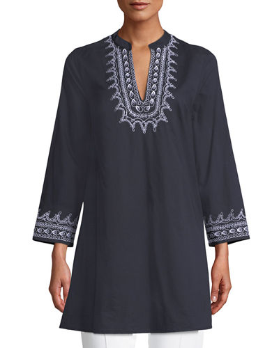 Charlotte V-Neck Long-Sleeve Cotton Tunic w/ Embroidery