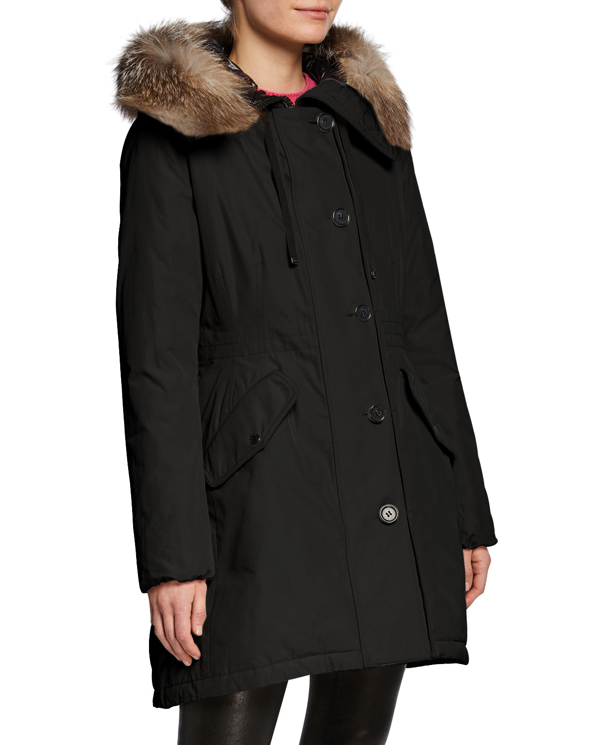 watch 1ef62 c2ba2 Monticole Long Parka Coat w/ Fur Trim at Hood