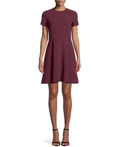 Crewneck Short-Sleeve Modern Seamed Shift W. Admiral Crepe Dress