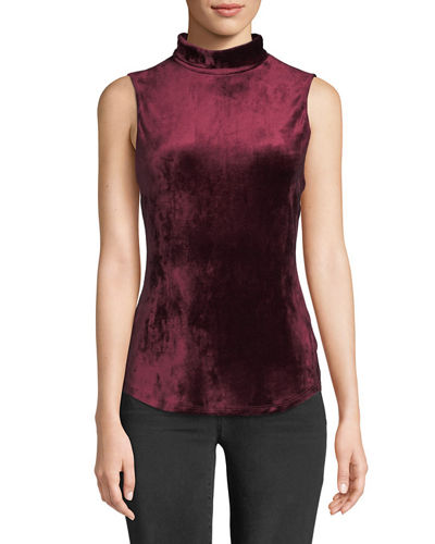 Mock-Neck Sleeveless Slim Velour Knit Tank