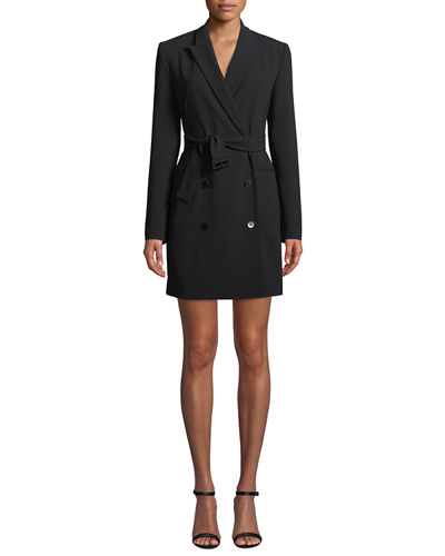 3fc98ac7d0 Theory Double-Breasted Belted Admiral Crepe Blazer Dress