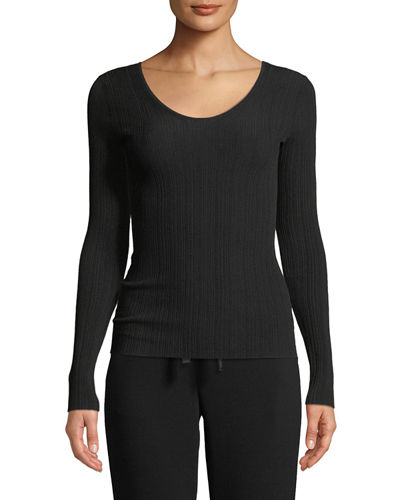 Ribbed U-Back Long-Sleeve Top