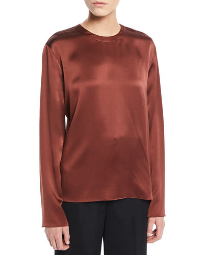 Tie-Back Silk Long-Sleeve Blouse