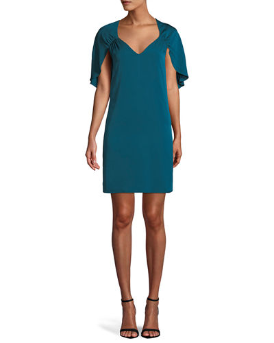 Romy V-Neck Cape-Back Stretch-Silk Sheath Dress