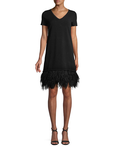 V-Neck Short-Sleeve Feather-Hem Dress