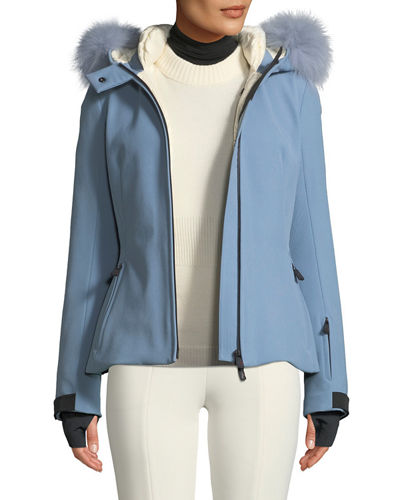 Bauges Belted Jacket w/ Removable Fur Trim