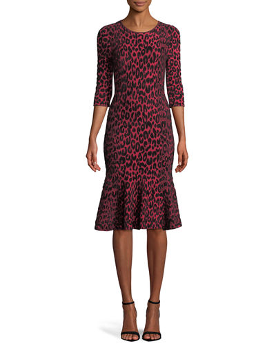ba1bb191481 Textured Leopard Animal-Print Mermaid Midi Dress Quick Look. Milly