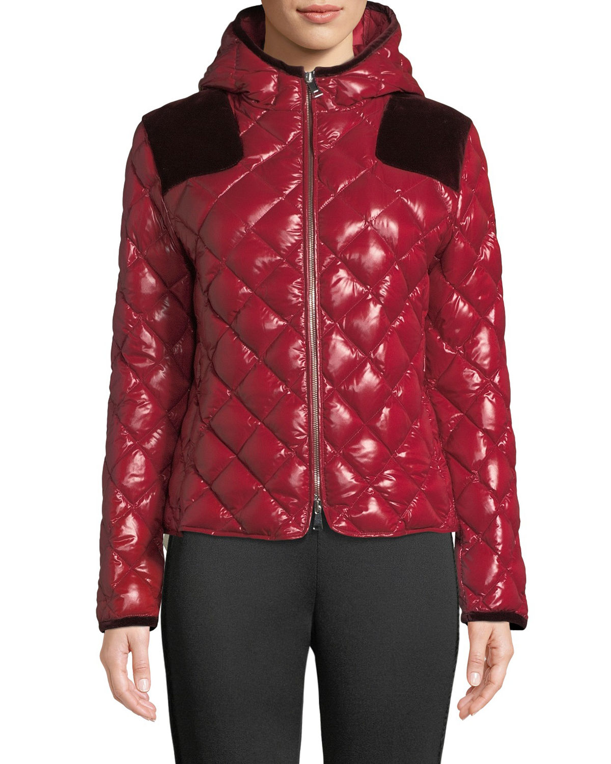16a727f023 Harle Quilted Jacket W/ Contrast in Red