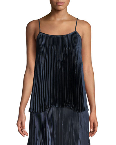 Pleated Square-Neck Tank