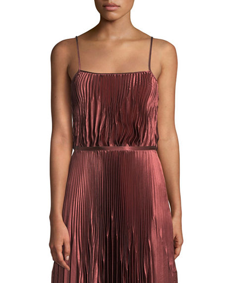 Vince Tops PLEATED SQUARE-NECK TANK