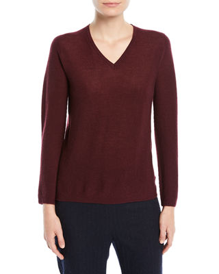 GENTRY PORTOFINO V-NECK LONG-SLEEVE FITTED PULLOVER CASHMERE SWEATER