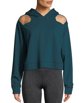 NYLORA Austen Cutout-Shoulder Cotton Hoodie Sweatshirt in Teal