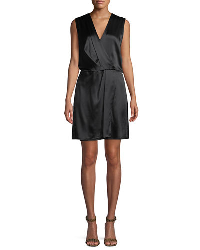 Victor Sleeveless Silk Wrap Dress