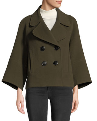Edna Double-Breasted Wool Jacket, Olivine