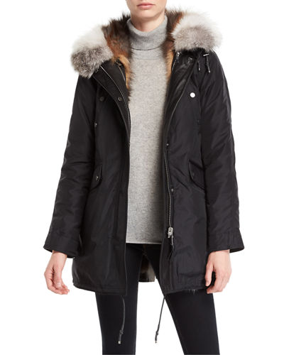 Belleville Reversible Fur-Lined Anorak w/ Fur Hood