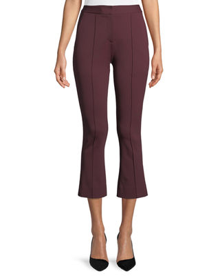 Mid-Rise Cropped Boot-Cut Pants in Red