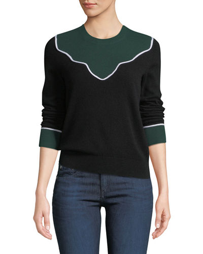 Atty Crewneck Colorblock Cashmere Pullover Sweater